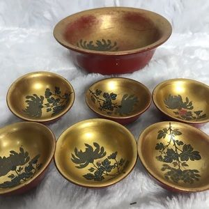 Vintage Wooden Painted Bowl and Mini Bowls Floral